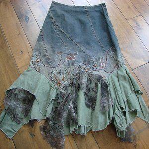 Frank Lyman Boho Peasant Handkerchief Denim Skirt